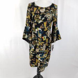NWT Inc Ana Sui dress black 3/4 sleeve